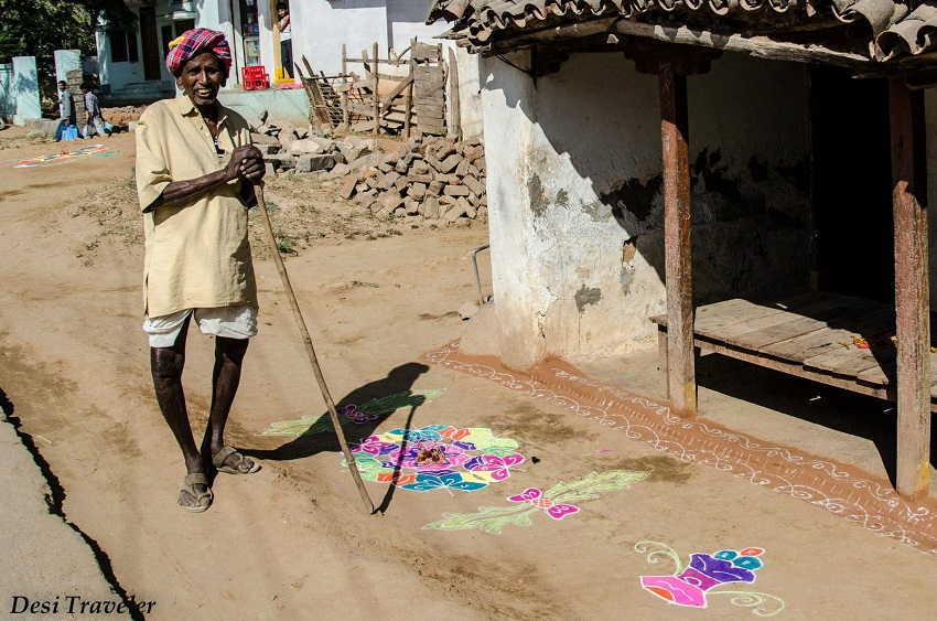 Old Man and Rangoli
