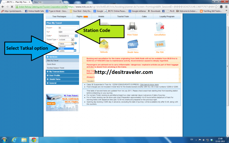 choose the right station code for booking tatkal railways tickets online