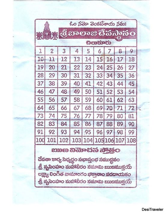 slip to record your parkrama at the chilkur balaji temple