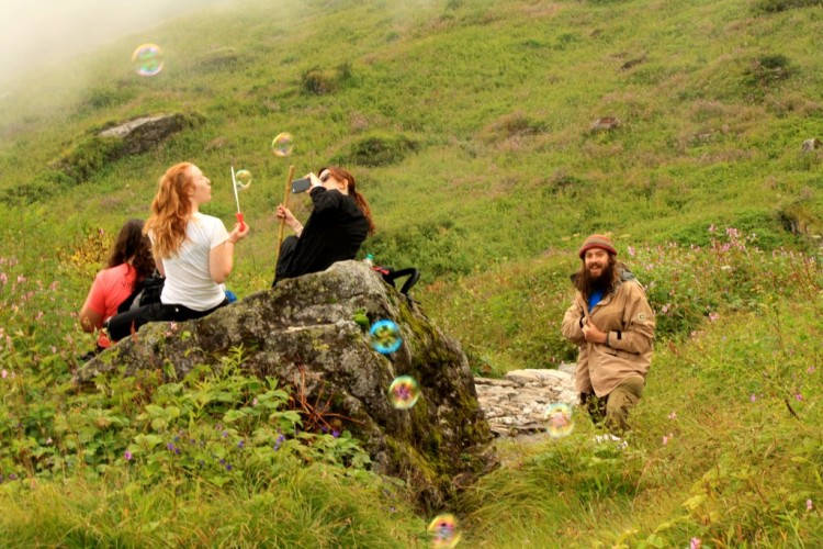 Foreigners Backpacking and Trekking to Valley of Flowers