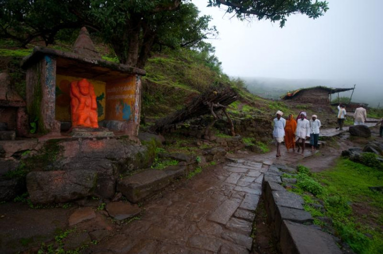 pilgrims trek to temple on route to Brahmagiri