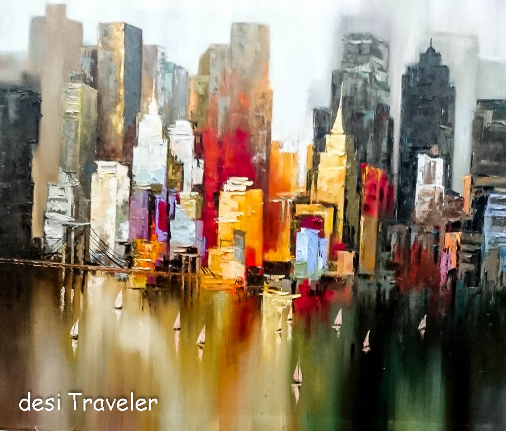 Replica paintings thailand for New york skyline painting