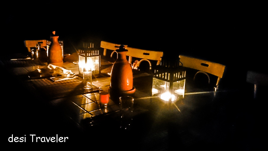 Feynan Eco Lodge candle light dinner