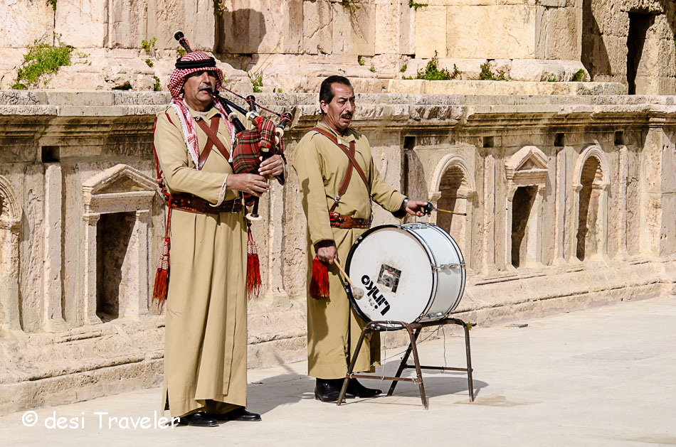 Bedouin men playing bagpiper and drums in Jerash Jordan