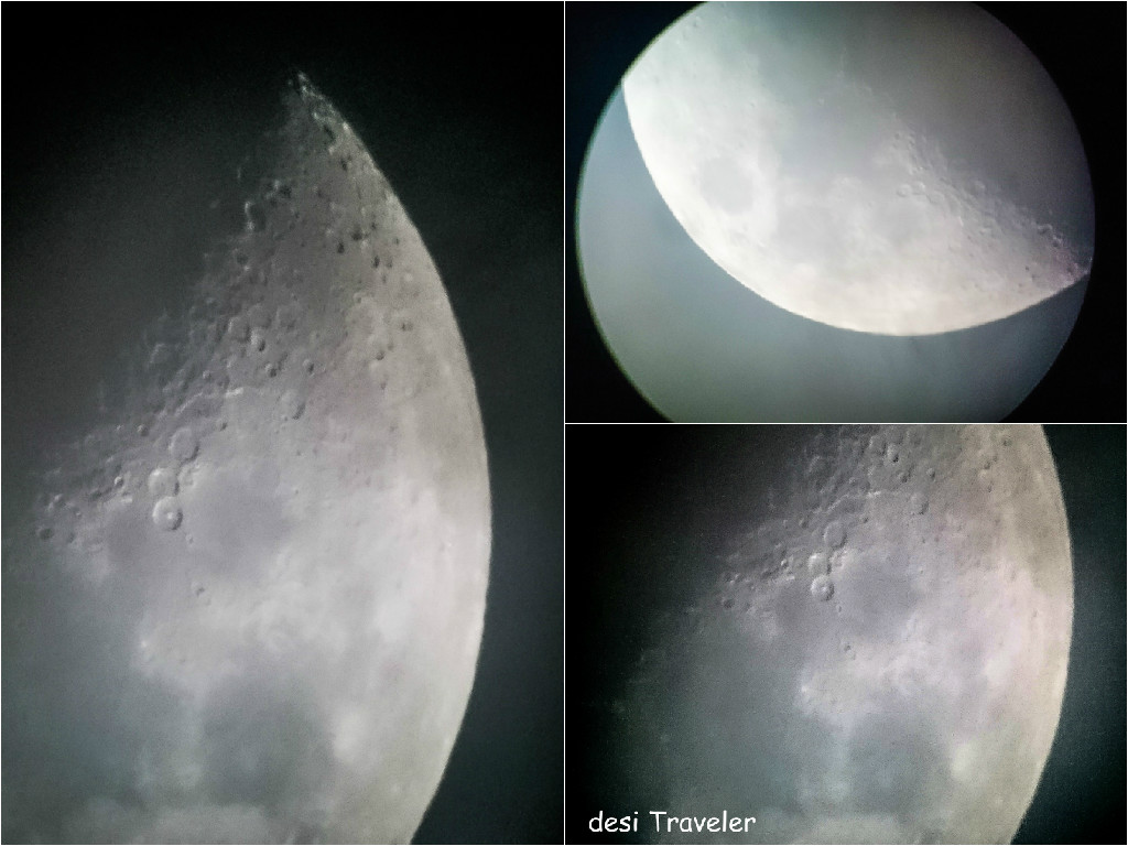 taking pictures of moon using telescope and cell phone