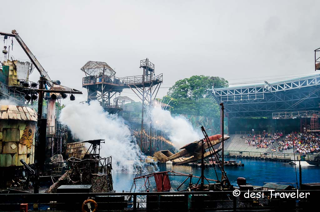 Water World Show Universal Studios Singapore plane crash on sets
