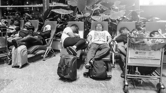 Bangalore Airport people sleeping