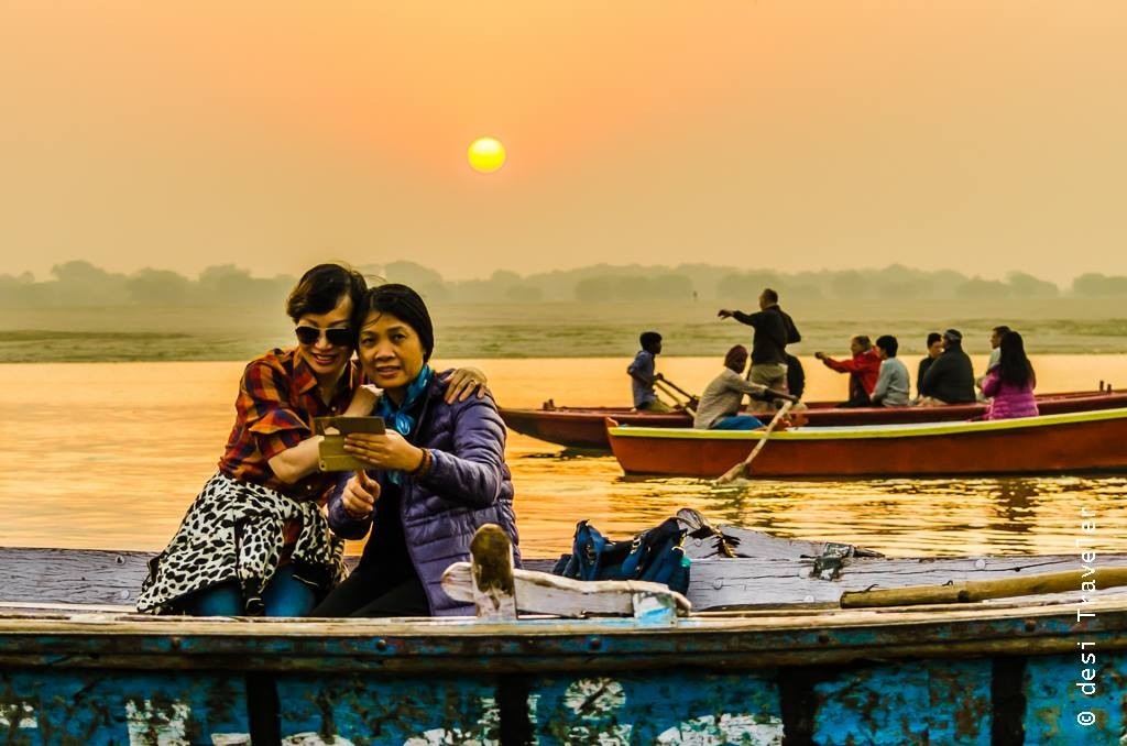 japanese tourists varanasi sunrise boat ride