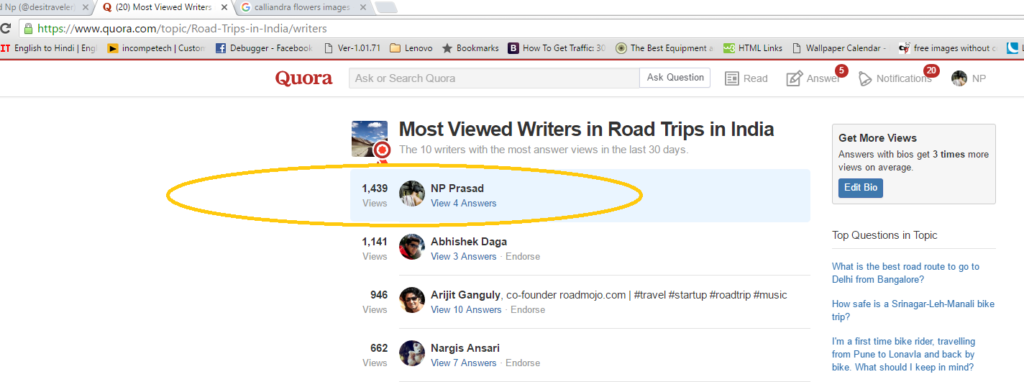 Most viewed Quora Writer
