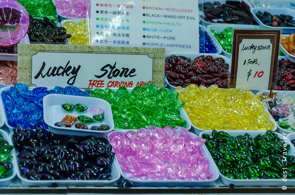 Colored glass beads sold as lucky stones in Chinatown India