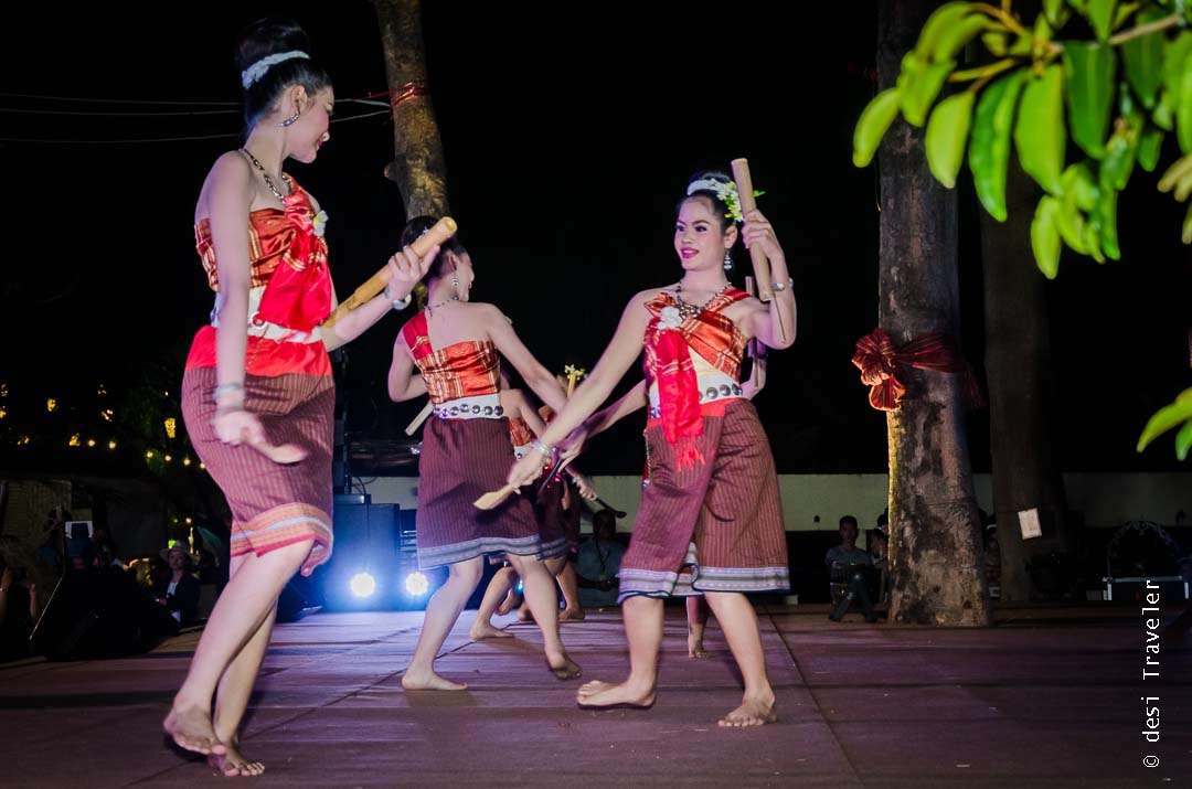 Thai dancers showing folk dance