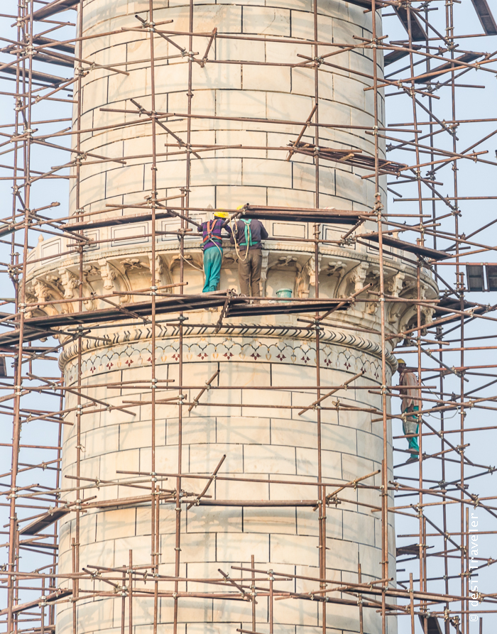 Taj Mahal Scaffolding for cleaning