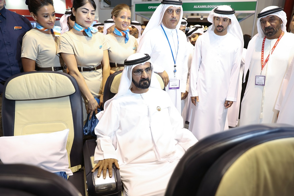 His Excellency Sheikh Mohammed bin Rashid Al Maktoum, at the flydubai stall ATM Dubai