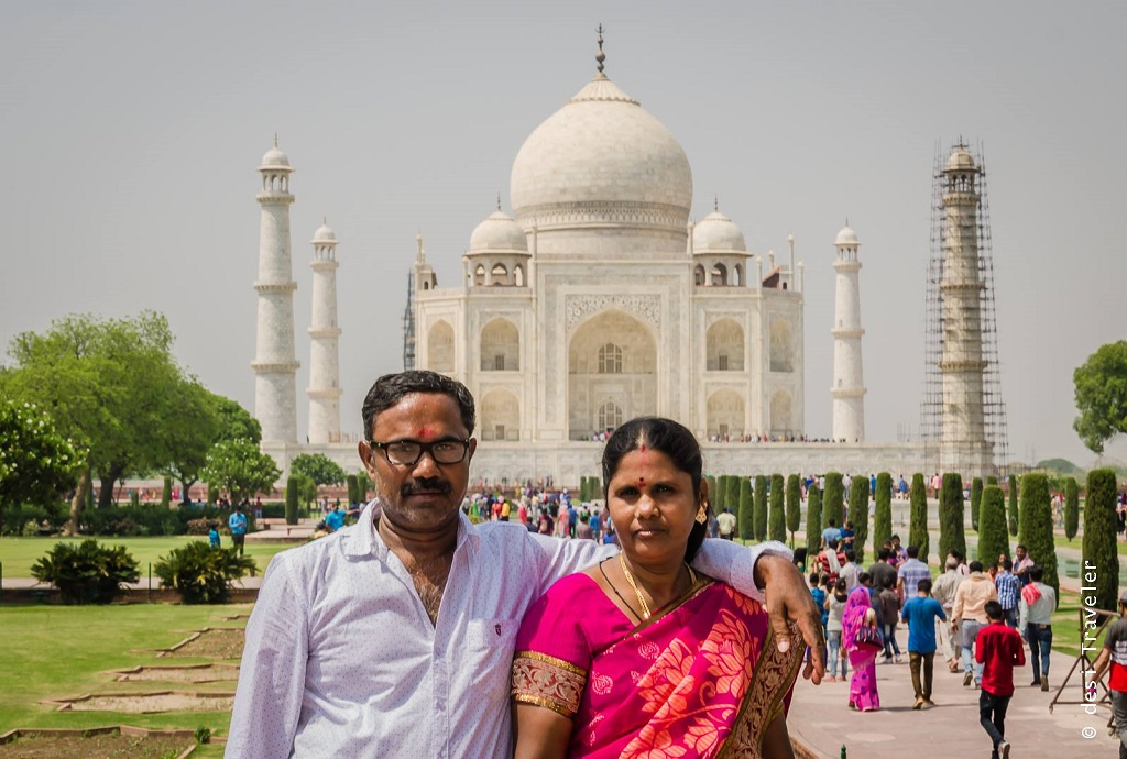 South Indian Couple at Taj Mahal Agra India