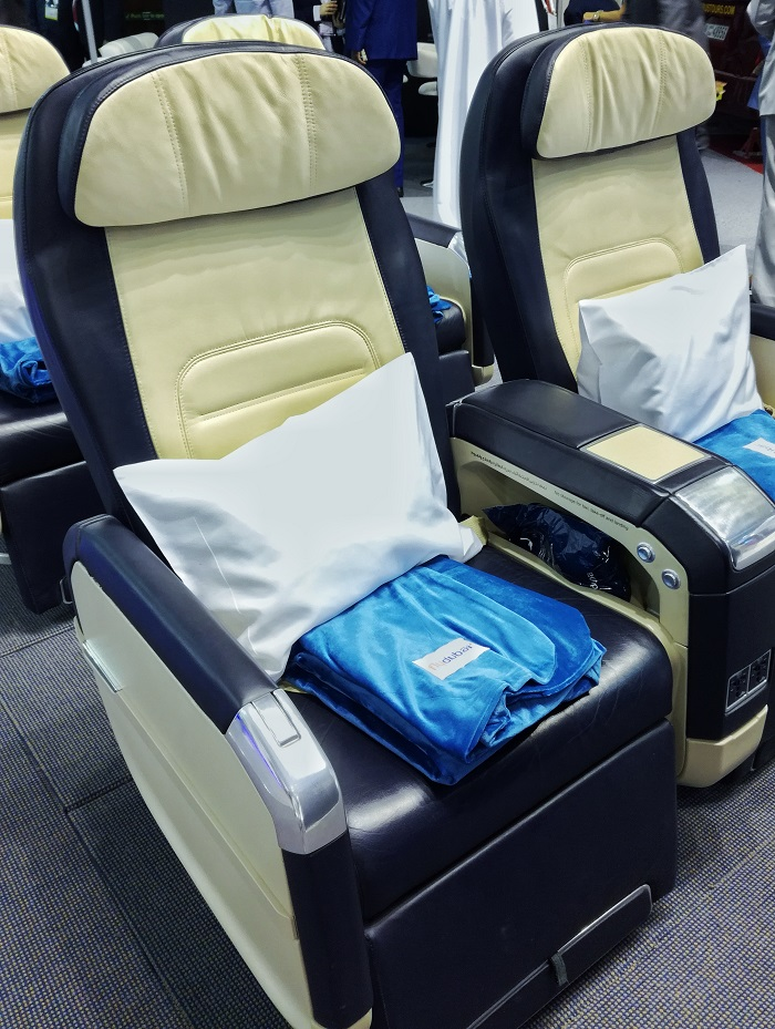 Business class seats of flydubai at display at ATM Dubai