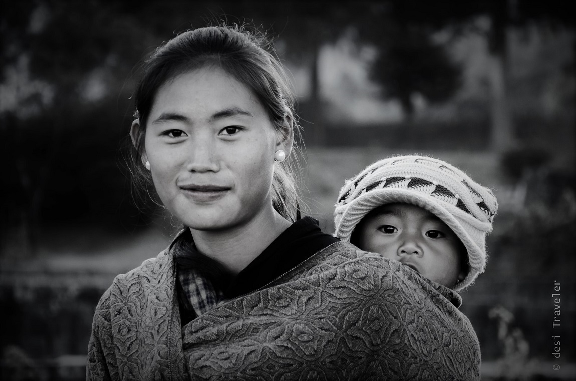 A Naga Mother with her baby in sling