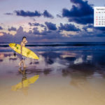 September 2017 Calendar Desktop Wallpaper – Surfer on A Bali Beach