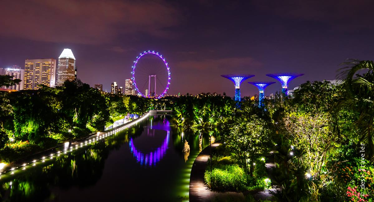 Night Photography Singapore Flyer and Super Tree Grove