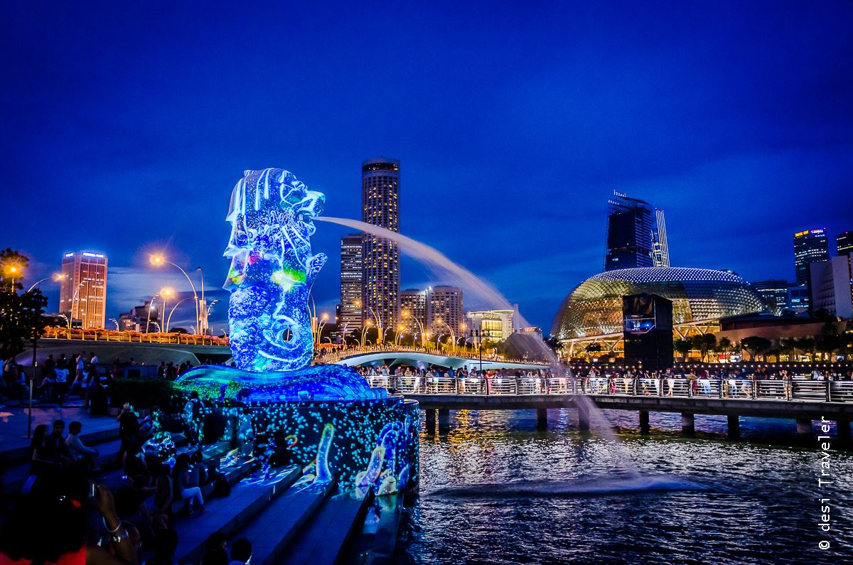 Merlion picture in night