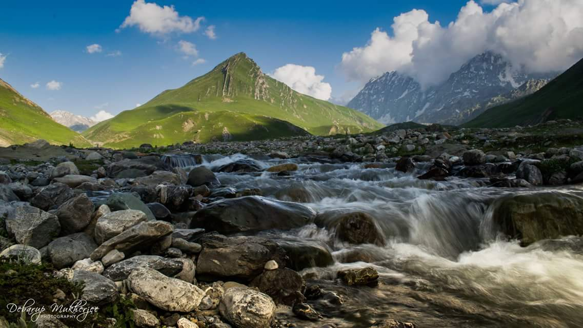 A mountain river Great lakes trek Kashmir