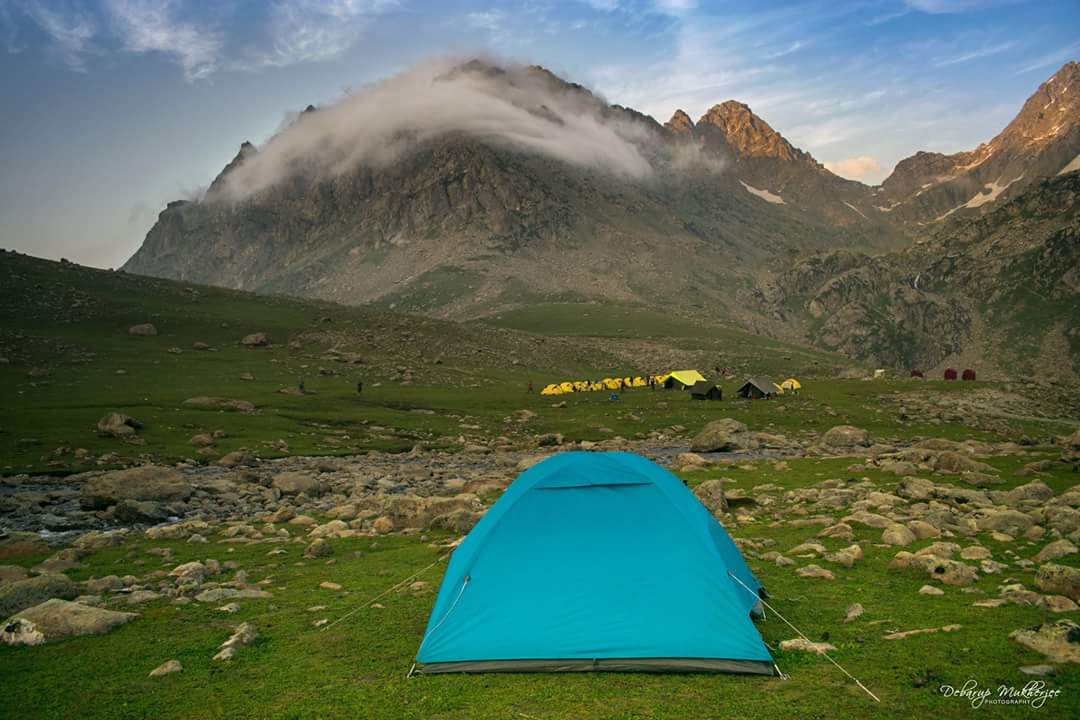 Camping during Great Lake Trek Kashmir India