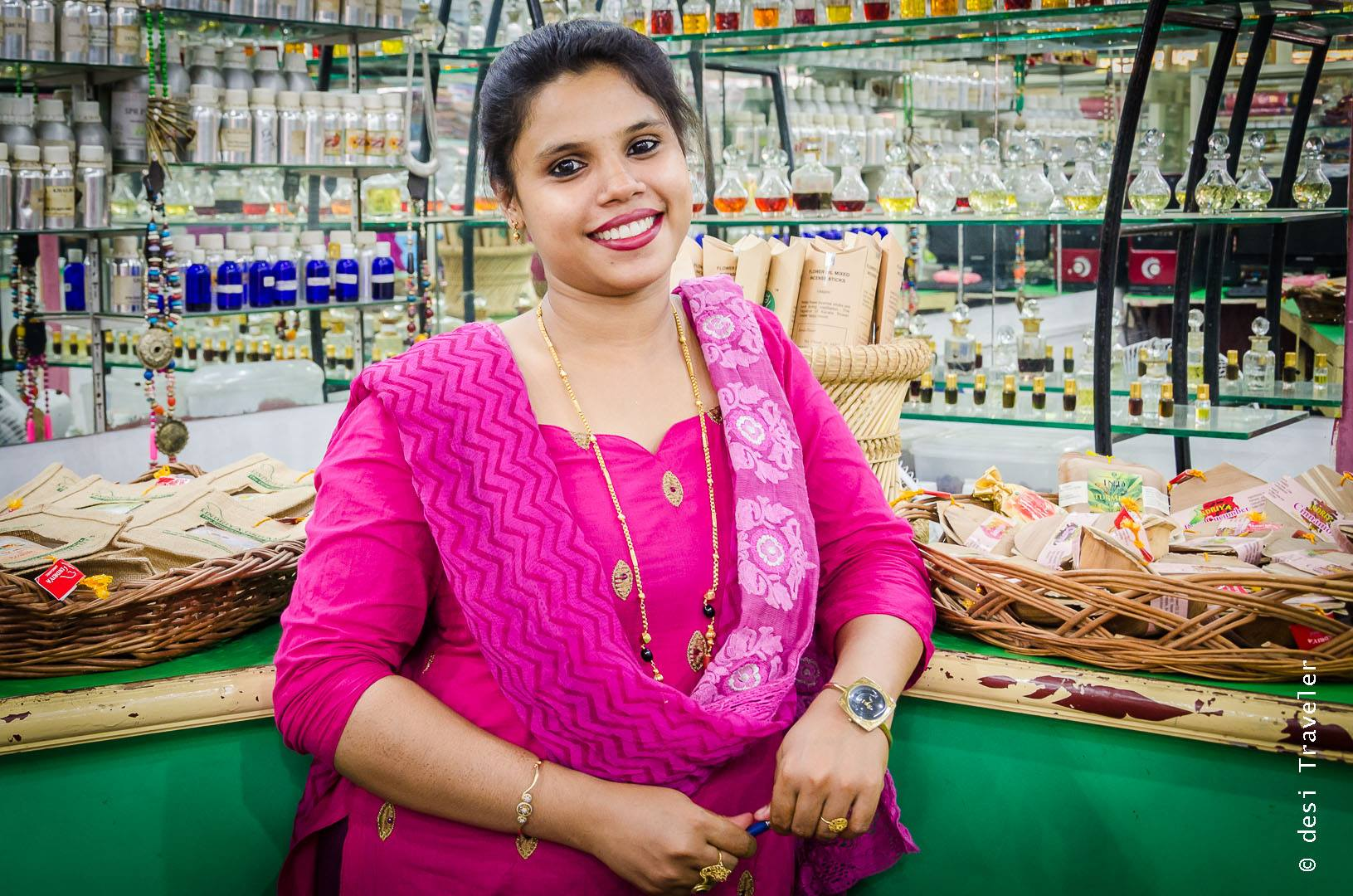 Portrait of a woman shopkeeper Jew Town Fort Kochi
