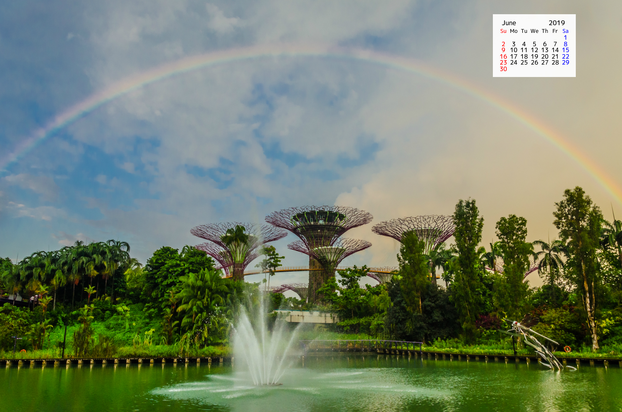 Free Download June  2019 Wallpaper Calendar Rainbow Supertree Grove Singapore