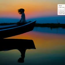 March 2018 Calendar Desktop Wallpaper - Inle Lake Myanmar
