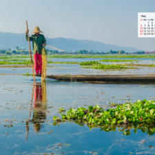 May 2018 Calendar Desktop Wallpaper - Inle Lake Myanmar
