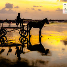 June 2018 Calendar Desktop Wallpaper-Murud Janjira Beach Maharashtra