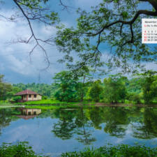 November 2018 Calendar Wallpaper - A Red Tiled House & Pond In Rural Maharashtra