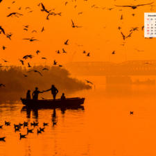 Free Download December 2020 Wallpaper Calendar -Sunrise at Yamuna Ghat Delhi