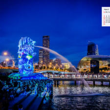 Free Download March 2019 desi Traveler Wallpaper Calendar - Merlion Singapore