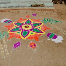 Rangoli Making For Sankranti Celebrations in Bhoodan Pochampally Village